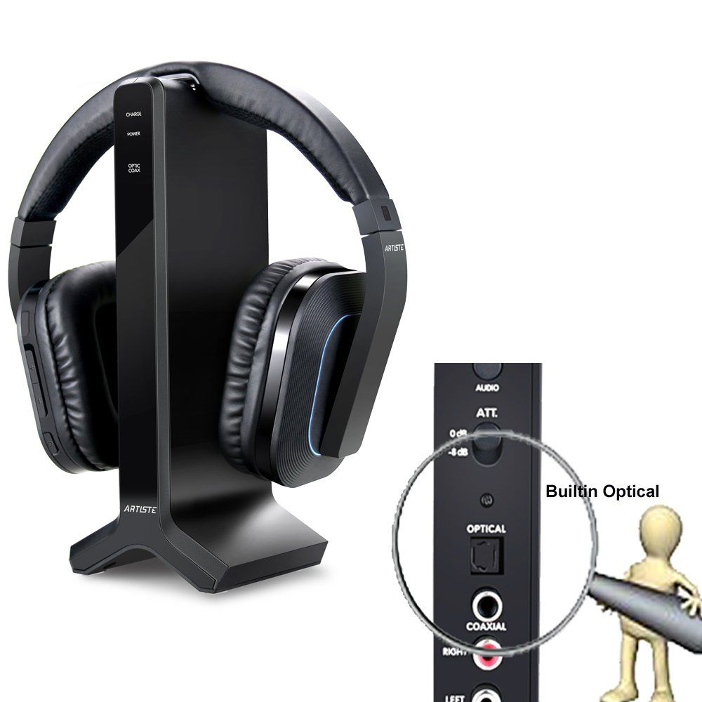 Wireless Stereo TV Headphones, Artiste D1 2.4GHz Optical ...