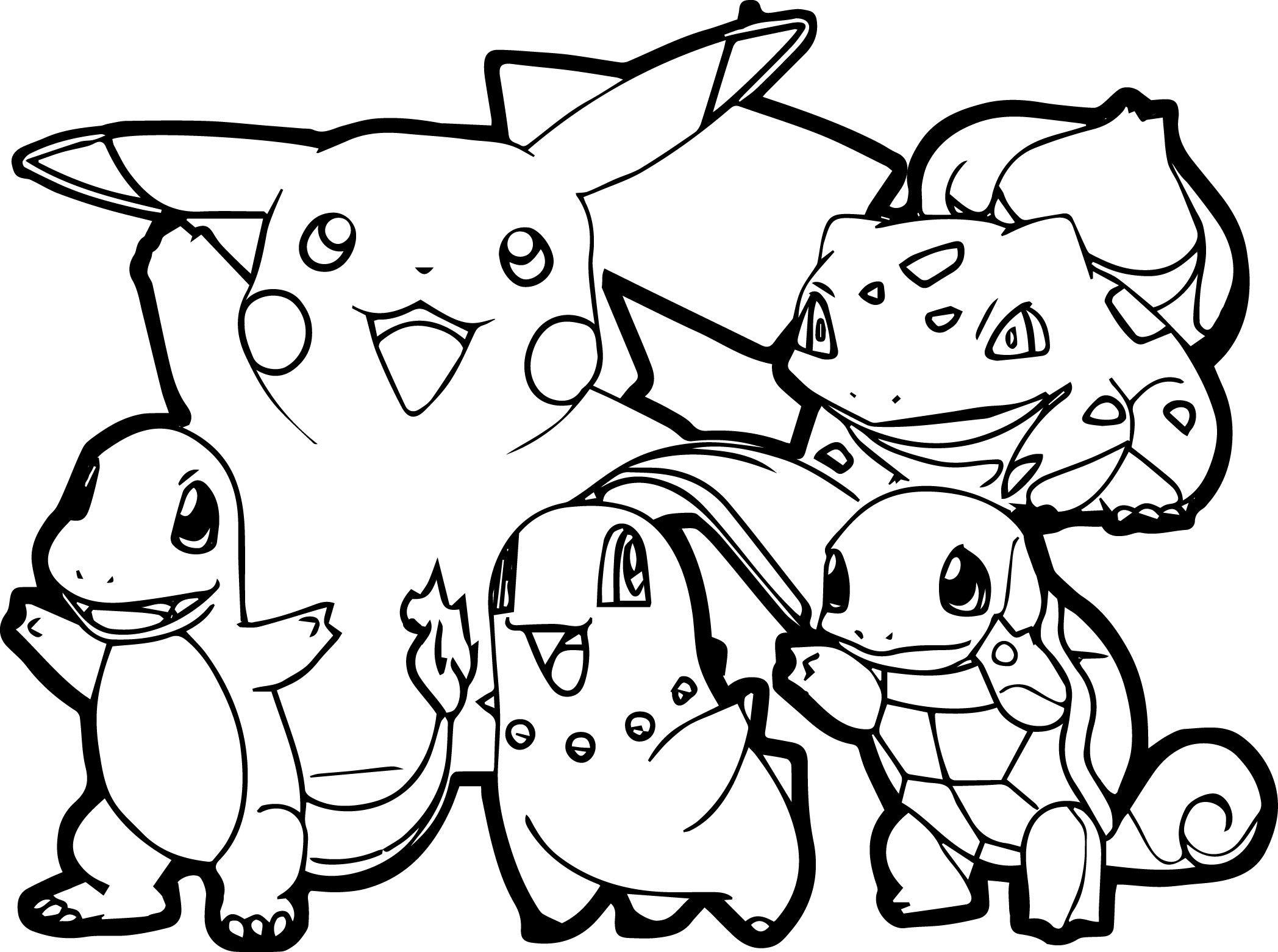 Un coloriage simple de Pikachu et de ses amis avec des traits tr¨s épais