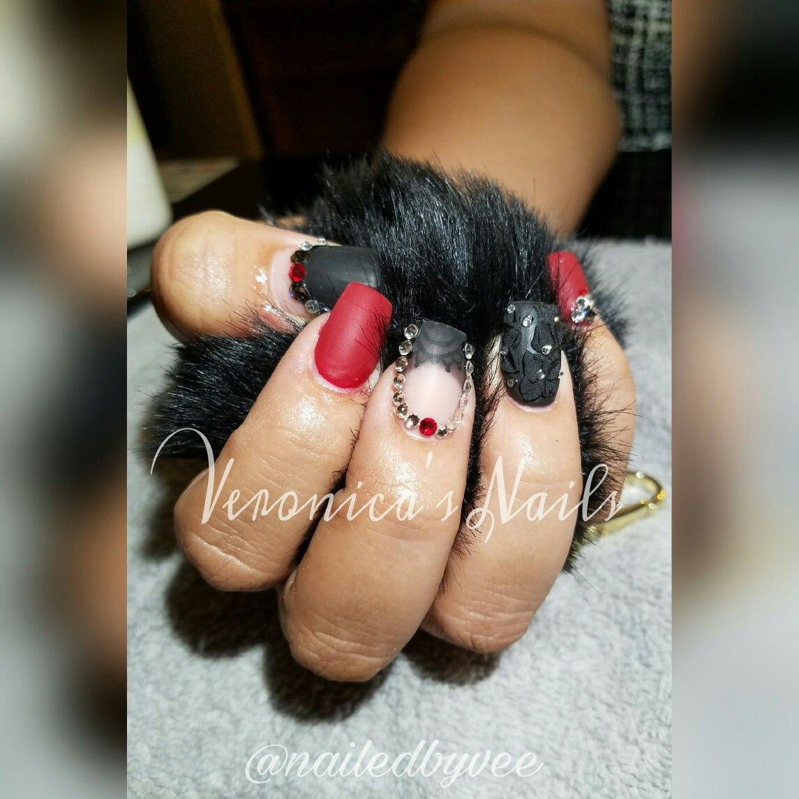 nailedbyvee red black Matt French tip rhinestone 3D nail design art ...