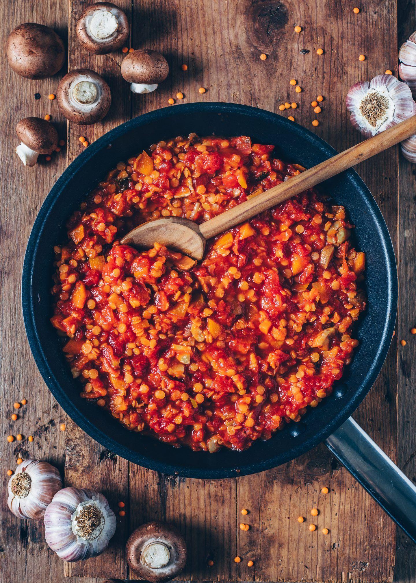 Lentil Bolognese With Spaghetti Vegan Easy