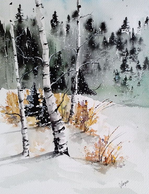 Original Aquarell Malerei Early Winter Maine Von Pinetreeart