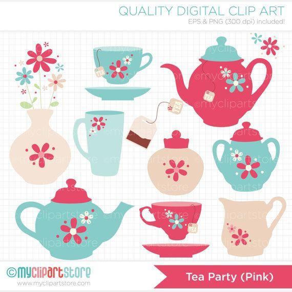 Tea Party / Tea Set Clip Art / Digital Clipart  by MyClipArtStore, $4.50