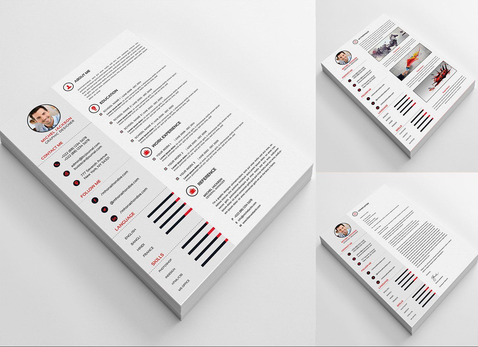 Free PSD CV/ Template, Cover Letter & Portfolio Design For