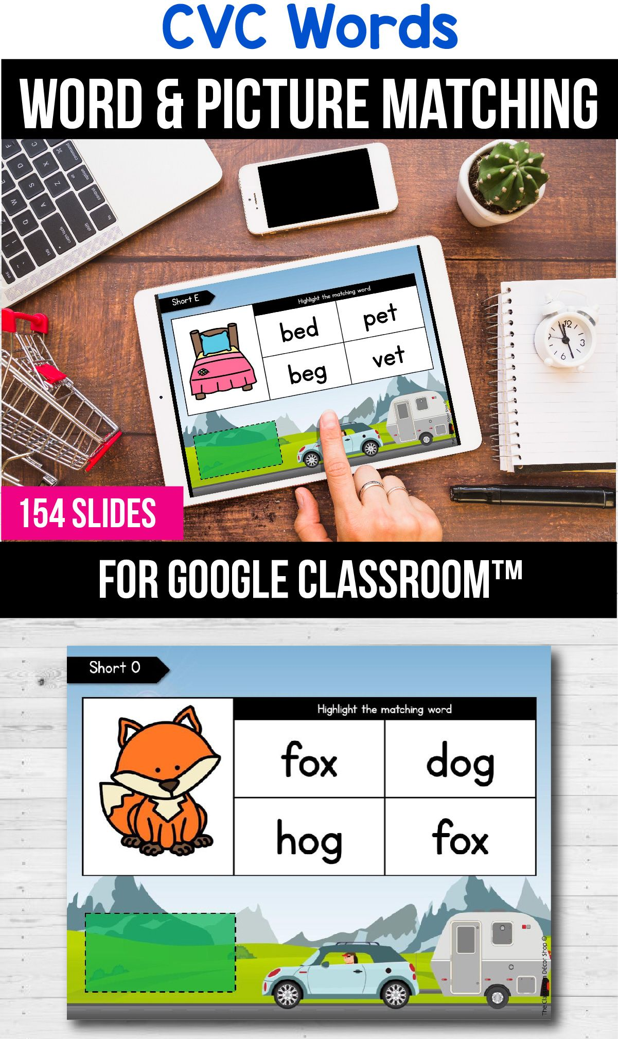Google Classroom Distance Learning Packets CVC Word Worksheets