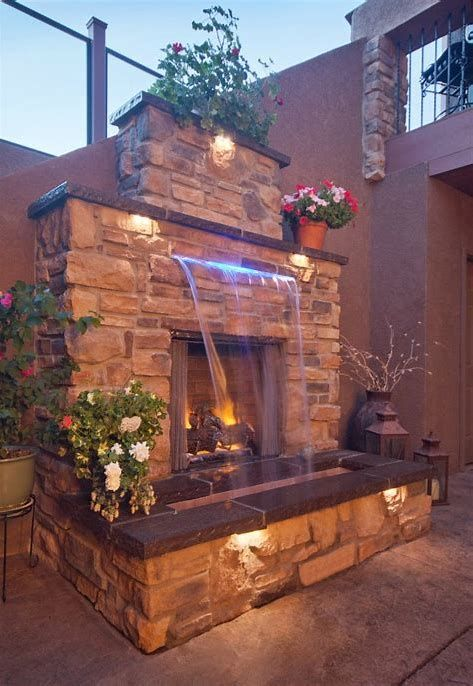 image result for outdoor fire place with waterfall with on best large backyard ideas with attractive fire pit on a budget id=19491