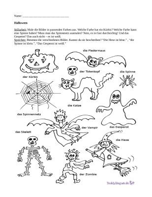 arbeitsblatt-halloween-mit-schrift | german for kids | Pinterest ...