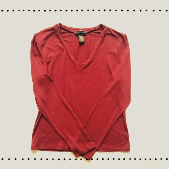 """Red v-neck top This beautiful V-neck made of 92% micro modal & 8% spandex is perfect for dressing up for the office or pairing with jeans for running errands. Full length long sleeves. Deep crimson red color. Length:22.5"""", bust:18"""". Sort of a fitted medium, looser fitting on a small. Banana Republic Tops"""