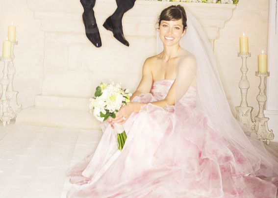 Pink is the new White... Jessica Biel Wedding Dress by Giambattista ...
