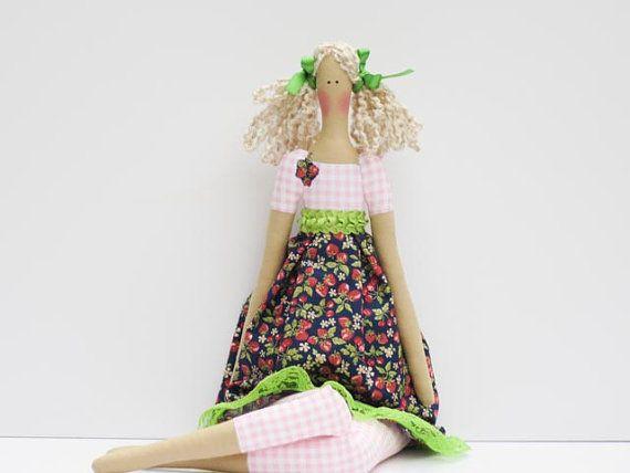 Fabric doll lovely rag doll blonde cloth doll softie plush stuffed doll pink blue green strawberry dress - birthday gift for girls
