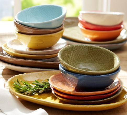 Colorful Tapas Dinnerware | Pottery Barn | DISHES | Pinterest