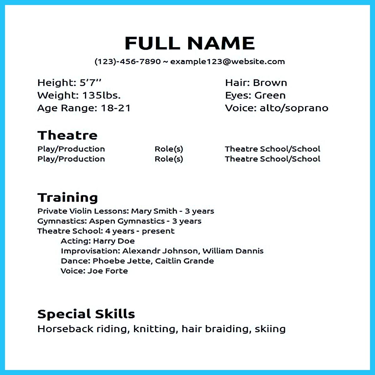The Acting Resume Format Can Be In Simple Order As You Will. Actor Resume  No Experience  Acting Resume With No Experience