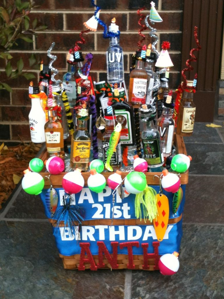 A 21st Birthday Present My Mom Made For Boyfriend There Are 21 Bottles Of Alcohol Held Up By Skewers And Wrapped With Pipe Cleaners