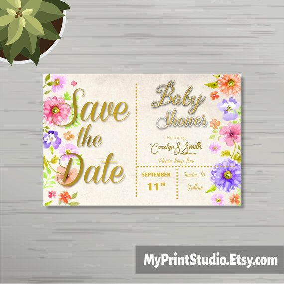 Save the Date Unisex Baby Shower Card Template in Word, Boy or Girl