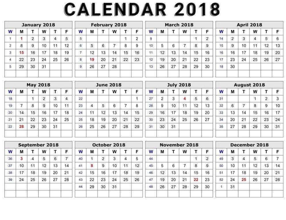 Calendar 2018 Template Yearly Calendar Blank Calendar Template
