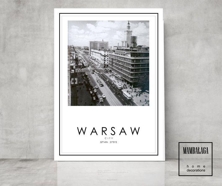 Stara Warszawa 50x70cm Mambalaga Plakaty Typograficzne