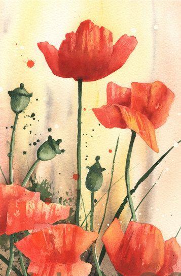 Mohn Aquarell Druck Popy Blume Liebhaber Geschenk Von Eastwitching