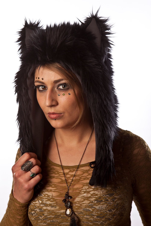 Faux Fur Black Wolf Half Hat  24dab421d1d