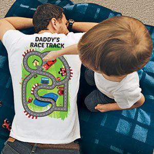 8e661d1c DADDY'S RACE TRACK T-SHIRT Uniquely designed with a race track on the back,  Dad gets a soothing back scratch as the kids drive their favorite toy cars  along ...