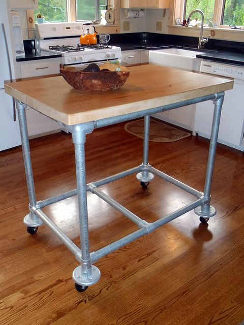 Swell Rolling Kitchen Island Of Galvanized Piping By Simplified Inzonedesignstudio Interior Chair Design Inzonedesignstudiocom