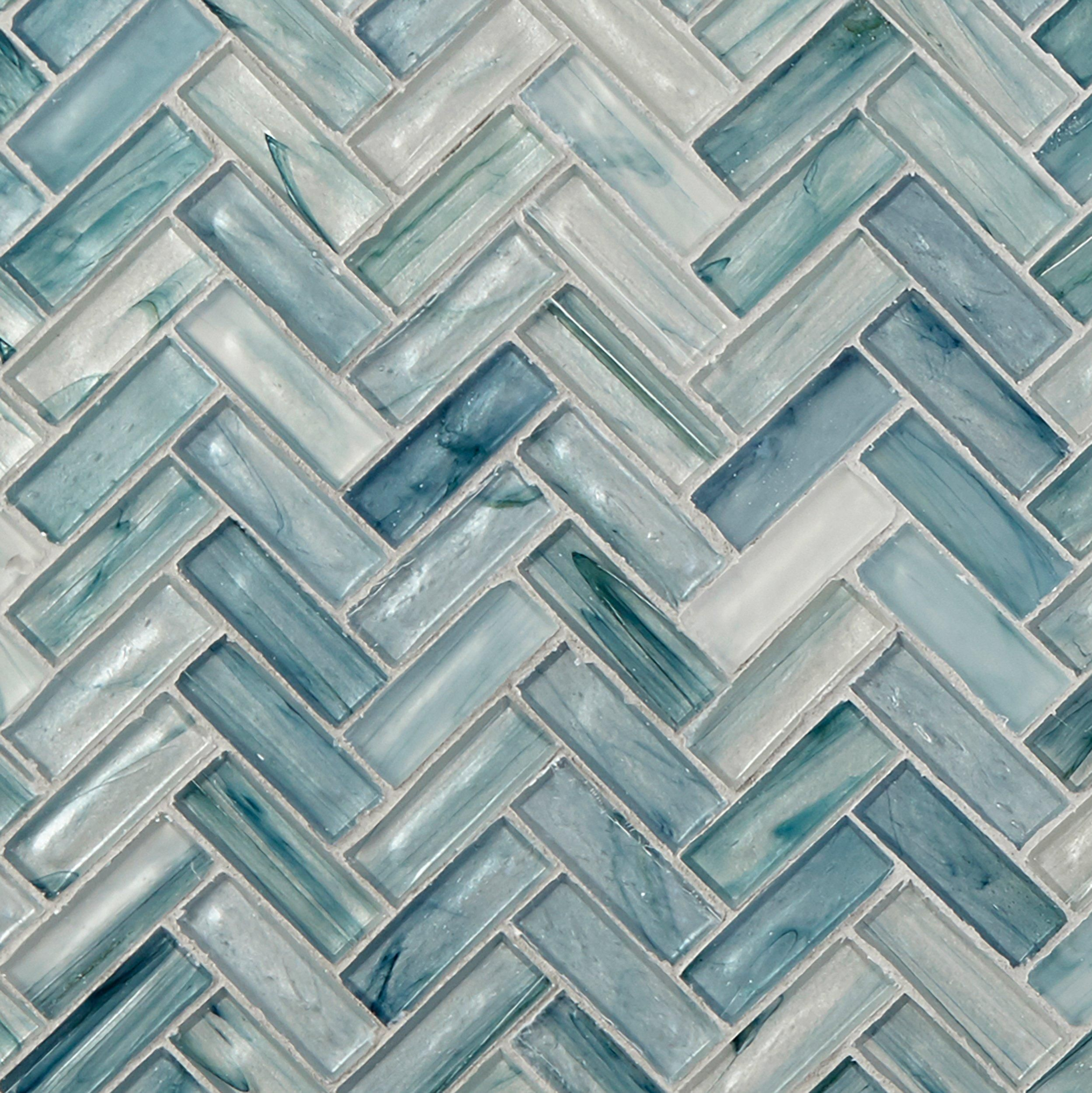 Neptune Herringbone Matte Glass Mosaic Mosaic Glass Blue Glass Tile Floor Decor