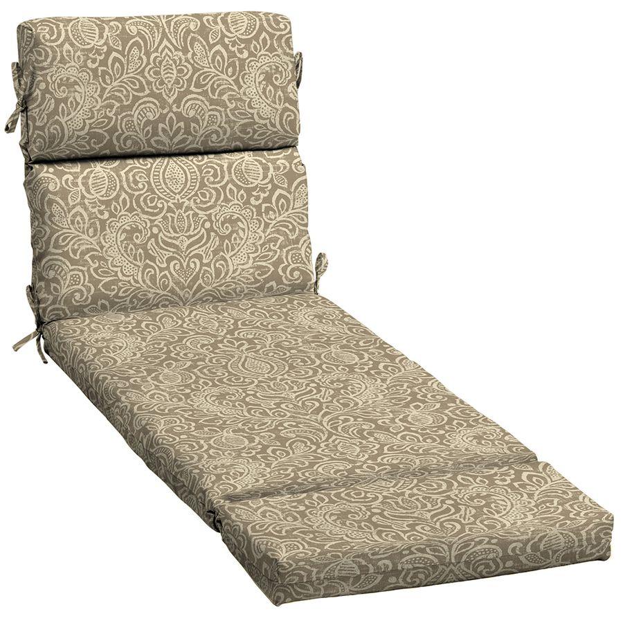 Garden Treasures Neutral Stencil Damask Standard Patio Chair Cushion