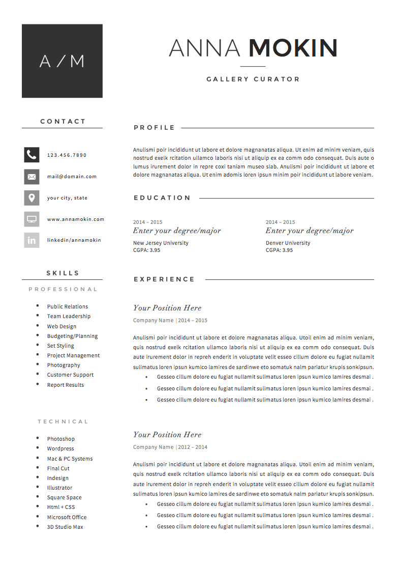 Resume Template 4page Smoke By Theresumeboutique On