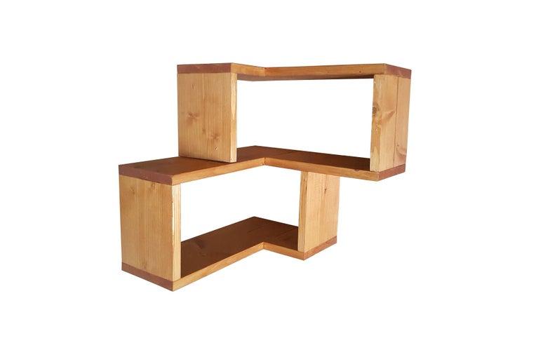 Solid Pine Wood Floating Corner Shelves Quality Gloss Varnished Finish Craft Hand Made Uk Stock Shelf Floating Corner Shelves Corner Shelves Shelves