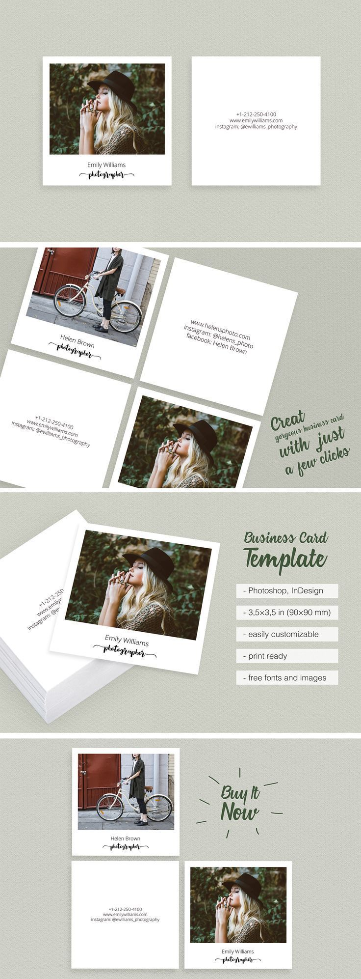 Get 8 Square Polaroid Business Card Download Digital Online It Is Creative Unique And Cool Visiting Template With Cal