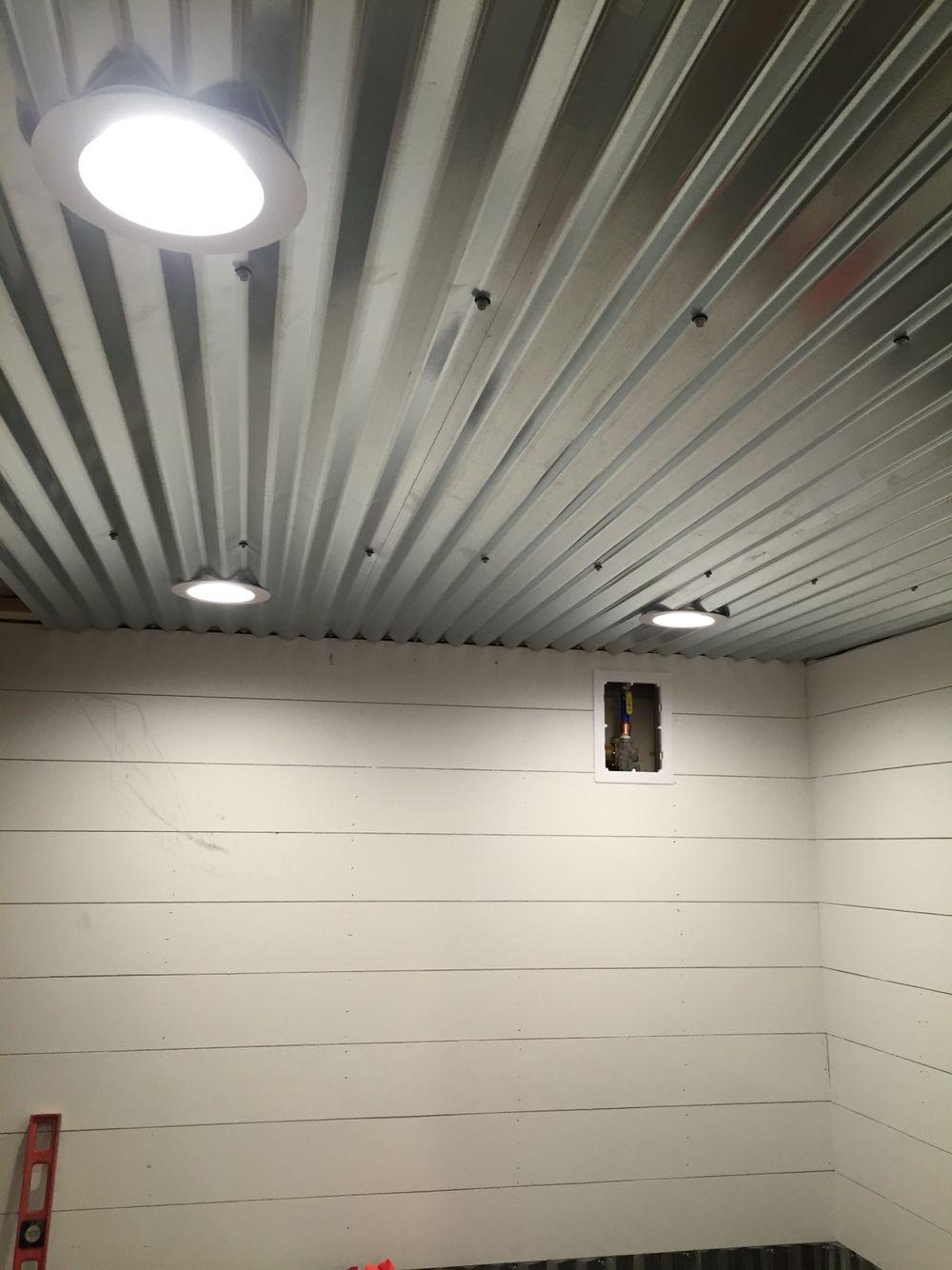 Diy Shiplap Corrugated Sheet Metal Ceiling Camping Kitchen Pinterest Basement Ceilings