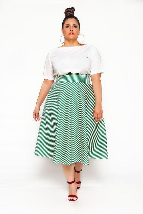 7c9b6159aa706 JIBRI High Waist Green White Striped Swing Skirt