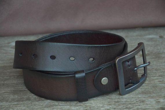Mens Leather Belt Strap Cowhide Belt Distressed Dark Brown belt  by SherryJewelry, $25.00