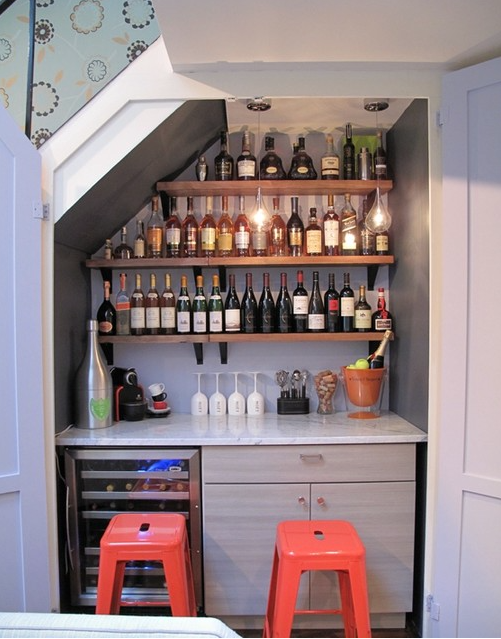 Craft your own bar. | 23 Unexpected Ways To Transform An Unused Closet