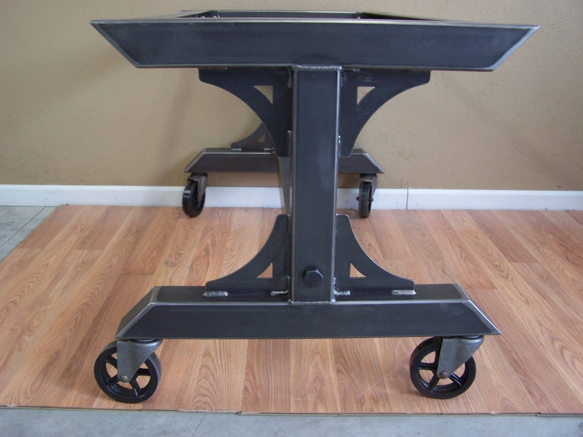 Industrial Steel Rolling Table Base On Heavy Duty Vintage Style Casters This Base Is Suitable For The Heavies Steel Dining Table Dining Table Bases Table Base