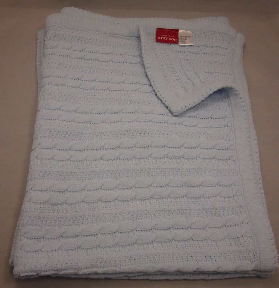 Amy Coe Blue Cable Knit Chenille Baby Crib Blanket Limited