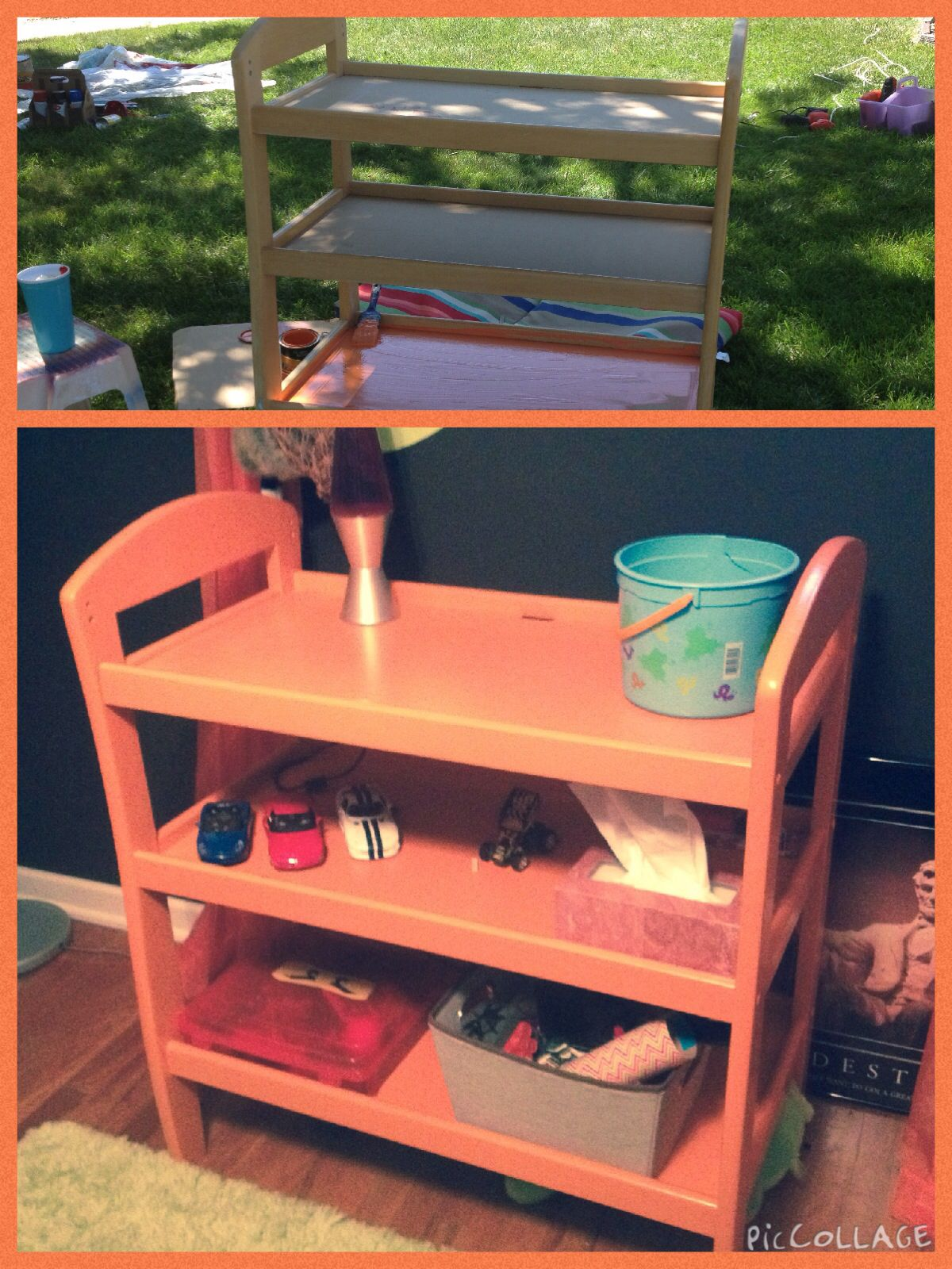 $10 diaper changing table upcycled into an orange Lego Table!