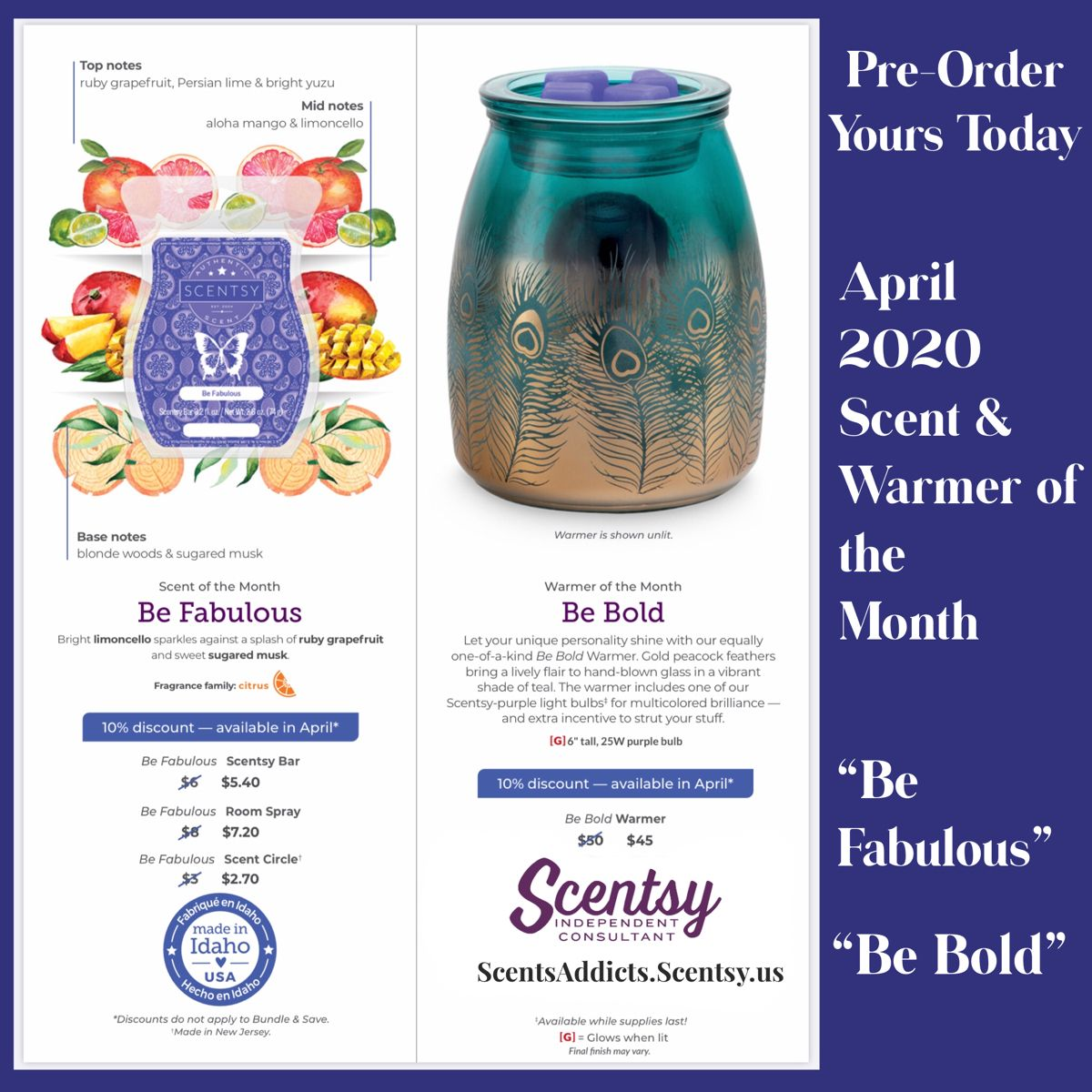 Our Scent and Warmer of the Month are available only while supply lasts and on sale during that particular month - so contact me to pre-order yours today #bebold #befabulous #scentsy #scentsyconsultant #scentsywarmer #wickless #candles #wicklesscandles #sale #buy #online #onlineshopping #onlinebusiness #scentedcandles #fragrance #fragrancecollection