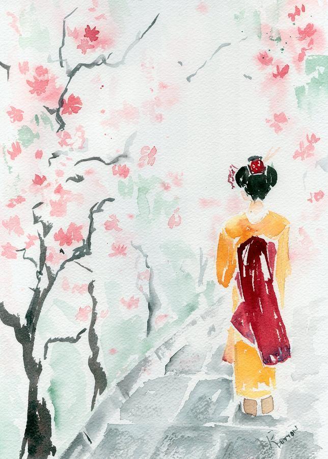 Cherry Blossom Geisha Canvas Print / Canvas Art by Rachel ...
