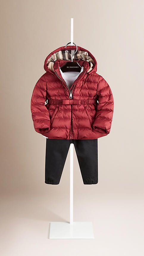Dark crimson Bow Detail Puffer Jacket - Image 1
