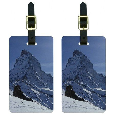 Matterhorn Swiss Alps Mountain Climbing Luggage Tags Suitcase ID, Set of 2, Multicolor