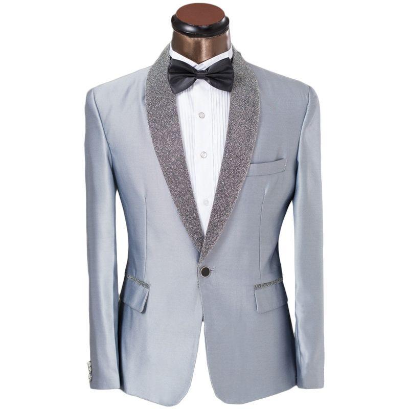 2017 Latest Coat Pant Designs Grey Shawl Lapel Pattern Men Suit ...