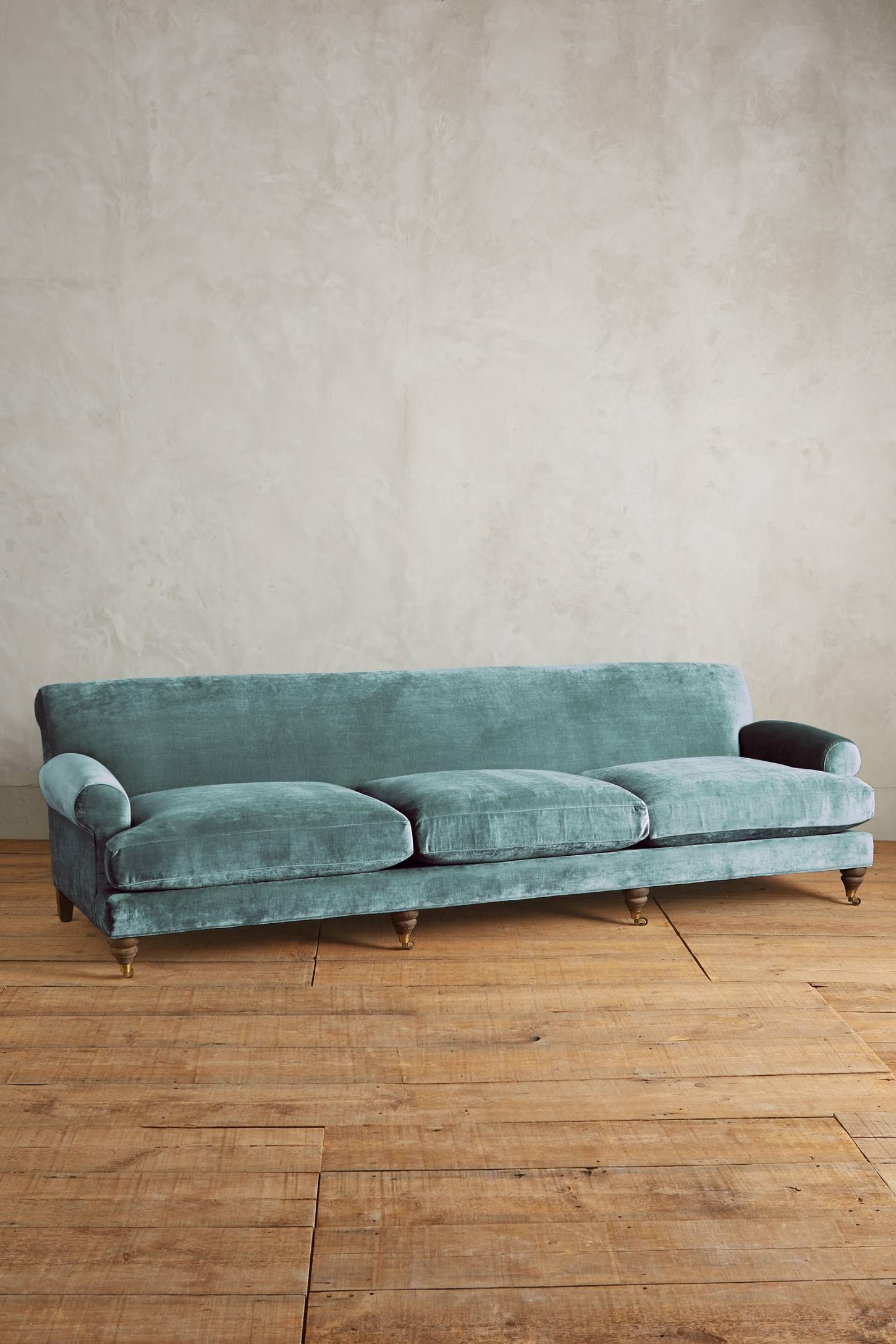 Slub Velvet Willoughby Grand Sofa, Hickory Sofa, Velvet