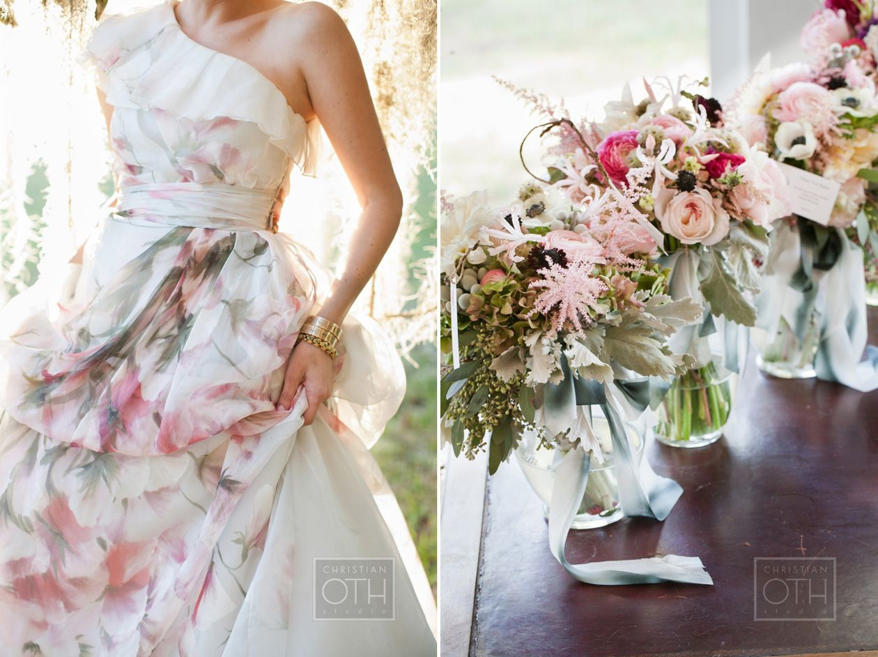 Love how her monique lhullier gown plays with the flowers shot by floral wedding dresses ombrellifo Images