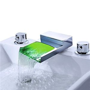 LED Wasserfall Chrom Zweigriff weite Bad Waschtischarmatur | LED ... | {Badarmaturen wasserfall 68}