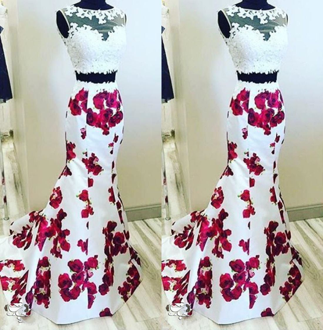 43e8067c45 Long White Floral Elegant Mermaid Sleeveless Prom Dresses 2018 Two Piece ·  Hot Lady · Online Store Powered by Storenvy