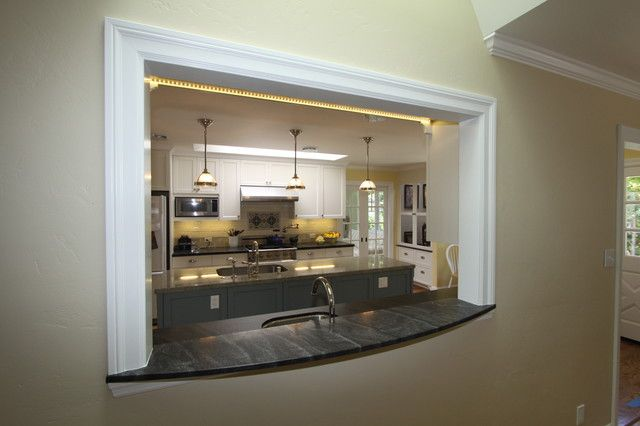 Small Kitchens With Pass Throughs | Traditional Kitchen Pass Through Window  Small Kitchen Thru Dining Room