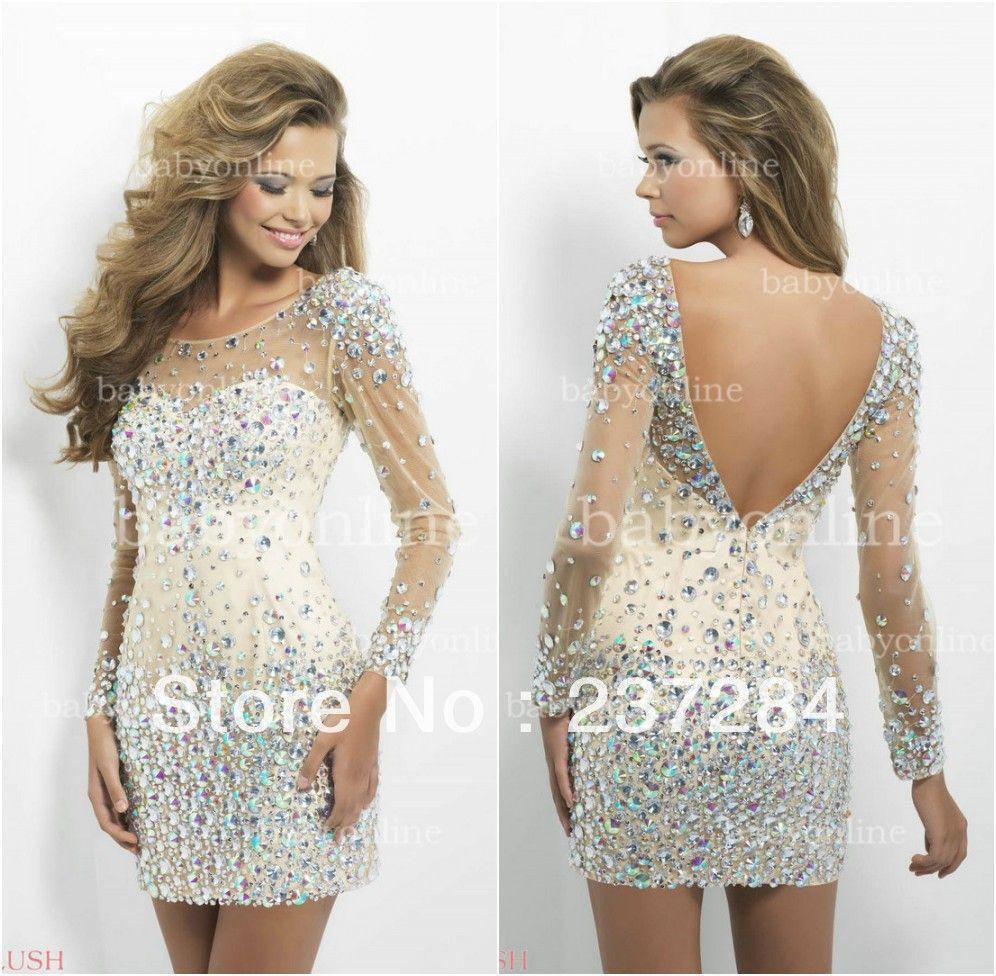 2014 Sexy backless jewel neckline Short mini prom dresses cocktail ...