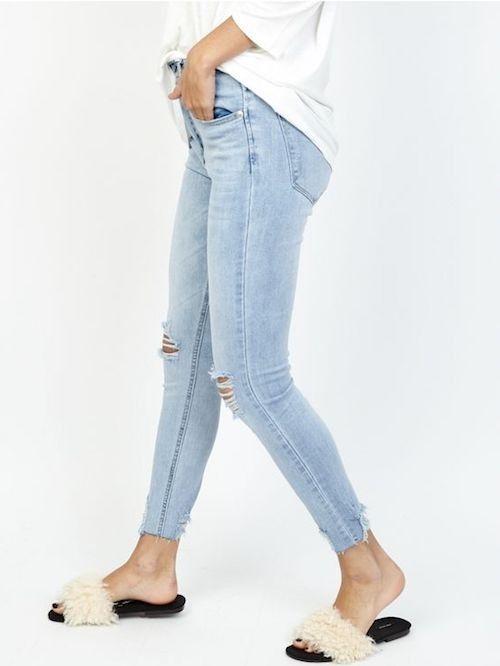 Haute Ouvert Femme Taille Au Jeans Pantalon Genoux Slim Déchiré rdeCoxB