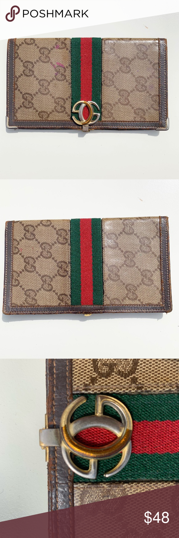 610a2168f00f Gucci | Vintage Checkbook Cover Wallet GG Coated Authentic Vintage Gucci  Coated GG Canvas Checkbook Cover