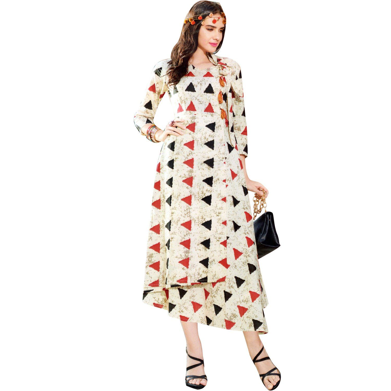 Indian long kurtis for women cotton ethnic prints u handwork