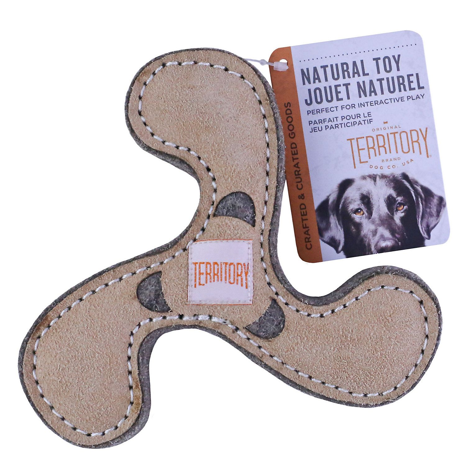 Territory Natural Leather Spinner Toss Dog Toys Medium Pack Of 3